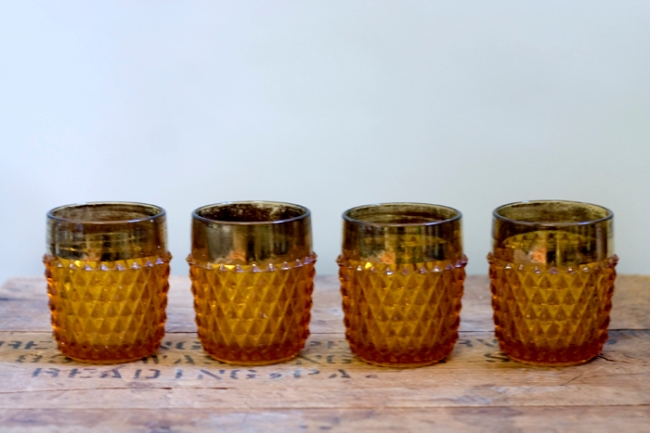 gold and amber tumblers